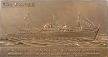 Portugal, lancement du navire hôpital Gil Eanes, par M. Norte, 1955