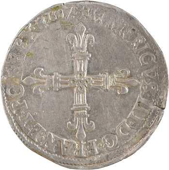 Henri III, quart d'écu croix de face, 1587 Saint-Lô