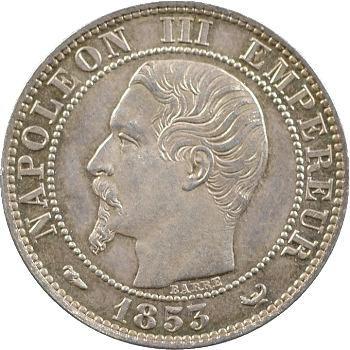 Second Empire, cinq centimes tête nue, visite de la Bourse de Lille, 1853 Lille