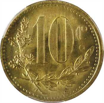 Algérie, Alger, Chambre de Commerce, essai de 10 centimes en laiton, 1921 Paris, PCGS MS63