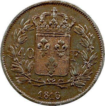 Louis XVIII, essai de 40 francs en étain bronzé par Michaut, 1815 Paris
