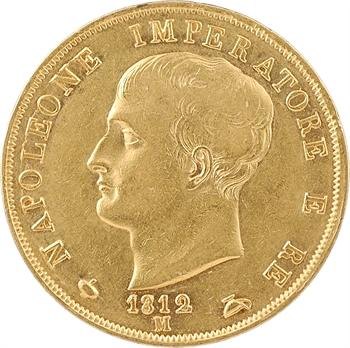 Italie, Napoléon Ier, 40 lire tranche en creux, 1812 Milan