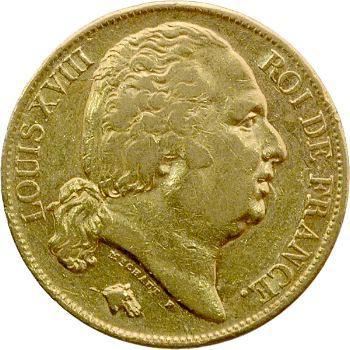 Louis XVIII, 20 francs buste nu, 1823 Paris