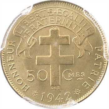 Afrique Équatoriale Française – Libre, 50 centimes, 1942 Pretoria (SA), PCGS MS65
