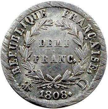 Premier Empire, demi-franc République, 1808 Lyon