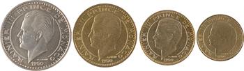 Monaco, Rainier III, coffret de quatre essais de 10 à 100 francs, 1950 Paris