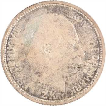 Danemark, Christian X, 2 kroner, mort de Frédéric VIII, 1912