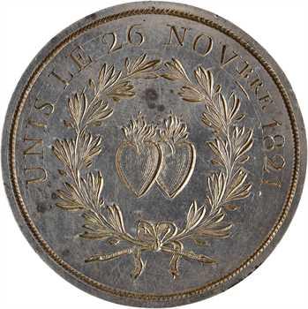 Louis XVIII, médaille de mariage en taille directe, 1821