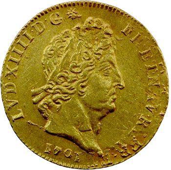 Louis XIV, louis d'or aux huit L et aux insignes, 1701 Paris