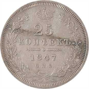Russie, Nicolas Ier, 25 kopecks, 1847 Saint-Pétersbourg