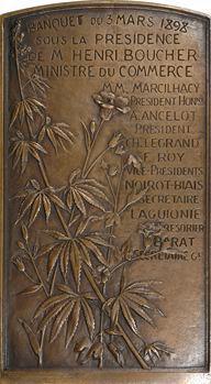 Rivet (A.) : cinquantenaire de L'Association des tissus et matières textiles, grande fonte de bronze, 1898 Paris