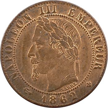 Second Empire, un centime tête laurée, 1862 Strasbourg (grand BB)