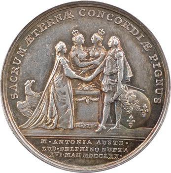 Louis XV, mariage du dauphin Louis (XVI) et de Marie-Antoinette par Roëttiers, 1770 Paris