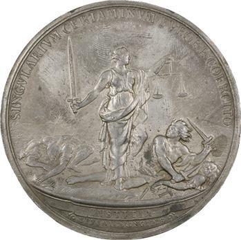 Louis XIV, abolition des duels, cliché uniface par Roussel, s.d. frappe ancienne