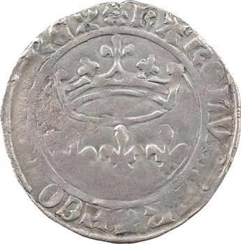 Charles VII, blanc aux lis accotés, coin de revers de florette d'émission spéciale à Troyes, dès octobre 1429, Troyes
