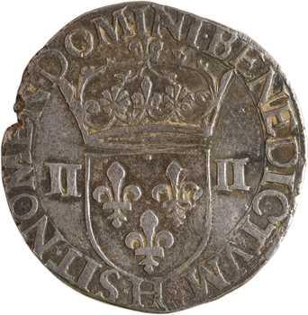 Henri III, quart d'écu croix de face, 1588 La Rochelle