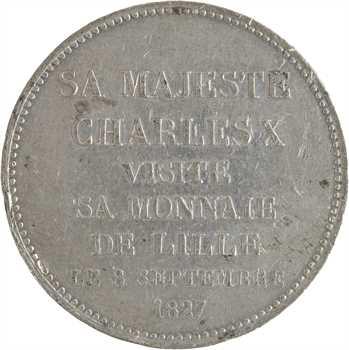 Charles X, module de 5 francs, visite de la Monnaie de Lille, 1827