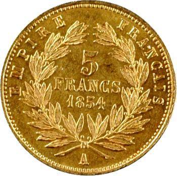 Second Empire, 5 francs or tête nue, petit module, 1854 Paris, tranche lisse