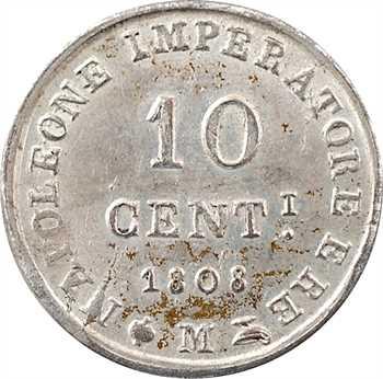 Italie, Napoléon Ier, 10 centesimi, 1808 Milan, variété en métal blanc (essai ?)