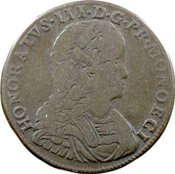 Monaco, Honoré III, Pezzetta ou 3 sols, 1734 Monaco