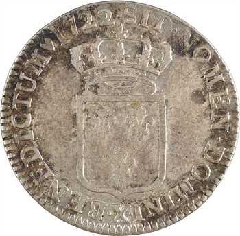 Louis XV, tiers d'écu de France, 1722 Rouen