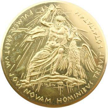 IVe République, Compagnie générale d'électricité, médaille en or par Raymond Corbin, s.d. Paris