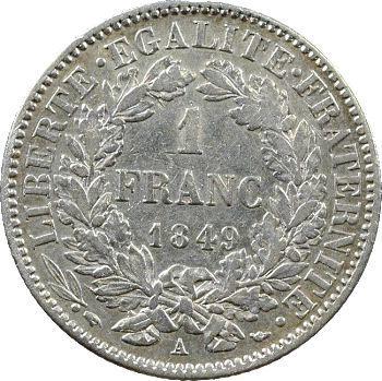 IIe République, 1 franc Cérès, 1849 Paris