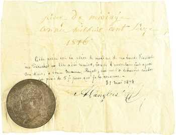 Louis XVIII, 5 francs buste nu, 1816 Rouen, pièce de mariage avec son document manuscrit