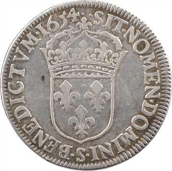 Louis XIV, demi-écu à la mèche longue, 1654 Troyes