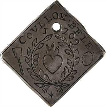 Louis XIV, siège de Tournai, 20 sols transformée en médaille de mariage, 1709