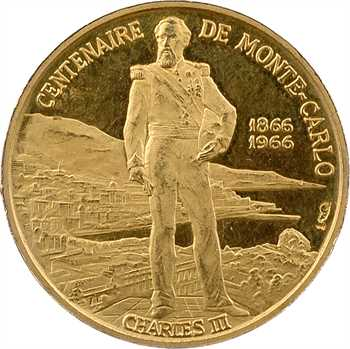 Monaco, Rainier III, médaille en or du centenaire, 1866-1966 Paris PROOF