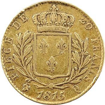 Louis XVIII, 20 francs buste habillé, 1815 Perpignan