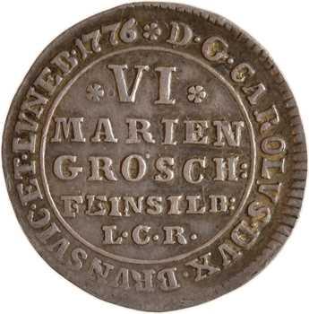 Allemagne, Brunswick-Wolfenbüttel, Charles Ier, VI mariengroschen, 1776 Zellerfeld