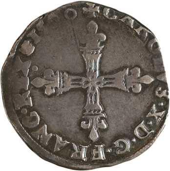 Charles X, quart d'écu, croix de face, 1590 Paris