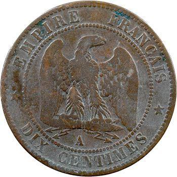 Guerre de 1870, Napoléon III, monnaie satirique de 10 centimes au casque à point