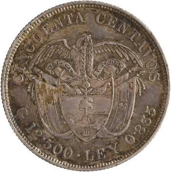 Colombie (États-Unis de), 50 centavos Colomb, 1892 Bogota