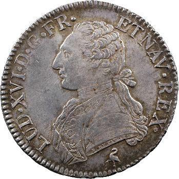 Louis XVI, écu aux rameaux d'olivier, 1790 Paris