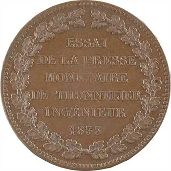 Louis-Philippe Ier, essai au module de 5 francs, par Thonnelier, 1833 Paris