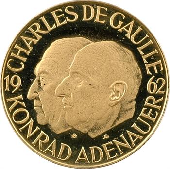 Allemagne, Adenauer et de Gaulle à Reims, médaille en or PROOF, 1962