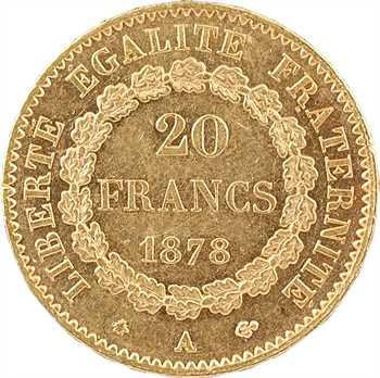 IIIe République, 20 francs Génie, 1878 Paris