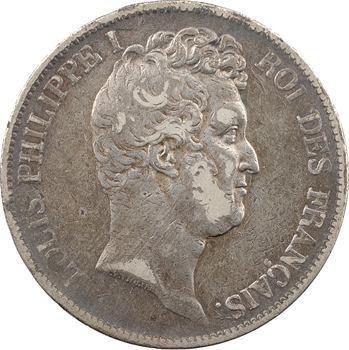 Louis-Philippe Ier, 5 francs Tiolier avec le I, tranche en creux, 1830 Nantes