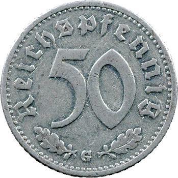 Allemagne (IIIe Reich), 50 pfennig, 1939 Karlsruhe