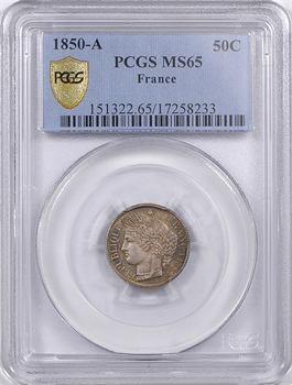 IIe République, 50 centimes Cérès, 1850 Paris, PCGS MS65