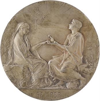 Roty (L.-O.) : Semper, médaille de mariage en argent, 1925 Paris