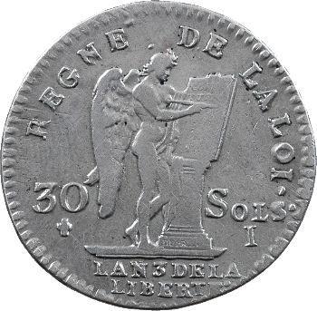 Constitution, 30 sols FRANÇOIS, An 3, 2d semestre, 1791 Limoges