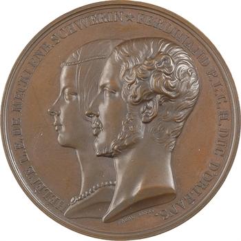 Louis-Philippe Ier, mariage duc d'Orléans avec Hélène de Mecklembourg à Fontainebleau, par Barre, 1837 Paris