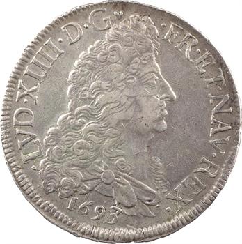 Louis XIV, écu aux huit L, 1er type, 1693 Troyes