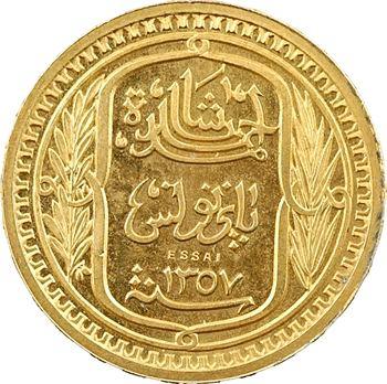 Tunisie (Protectorat français), Ahmed, essai de 100 francs bronze-doré, AH 1357 – 1938 Paris