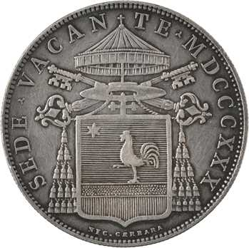 Vatican, siège vacant (cardinal Galeffi), scudo, 1830 Bologne