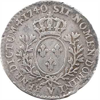 Louis XV, dixième d'écu au bandeau, 1740 Troyes